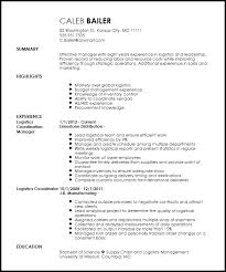 Logistics Coordinator Resume Letter Example