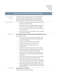 Education Coordinator Resumes Social Media Coordinator Resume Samples Tips And Templates
