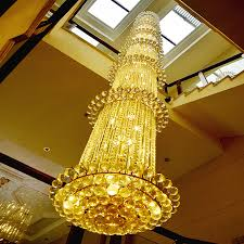 gold color crystal chandelier lamp big crystal re light fixture multi tiers hotel villa cristal lighting luxurious imperial
