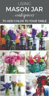 Table Decorations Using Mason Jars Using Mason Jar Centerpieces to Add Color to Your Table Settings 77