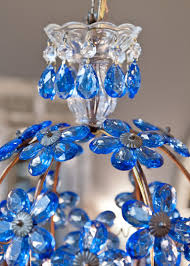 french antique sapphire blue crystal brass chandelier for