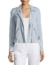 rebecca taylorwashed leather moto jacket light blue