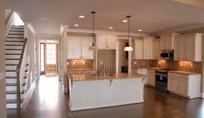 Hardwood Flooring For Kitchen With White Kitchen Island Combine