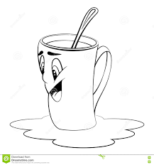 Cartoon Cup Surprised Expression Coloring Page Stock Vector