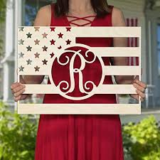 20 36 inch rectangle flag wooden monogram independence day usa personalized
