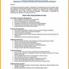 Assistant Warehouse Manager Job Description Warehouse Manager Job Description For Resume Harmonious Duties A