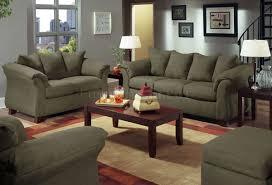 Microfiber Living Room Furniture Olive Microfiber Modern Sofa With Blue Grey Walls Living Room