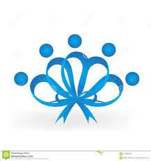Blue Ribbon Template Blue Ribbon Teamwork People Awareness Vector Icon Stock Vector