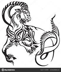 Znamení Zvěrokruhu Kozoroh Tribal Tattoo Styl Mytologické Stvoření