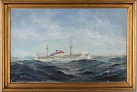 "Images for 254942. ALEXANDER WILHELMS. Marine motif, ""MS Helga Smith"" oil  on canvas, signed and dated Stockholm 1951. - Auctionet"