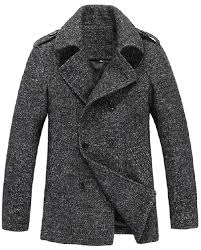 mens thick wool blend casual double ted pea coat dark grey
