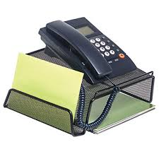 black mesh phone stand for telephone desk office home landline corded cordless