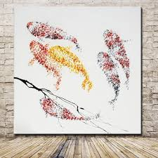 hand painted cartoon goldfish oil painting on canvas modern abstract animal fish paintings wall art
