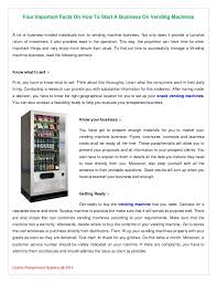 Facts About Vending Machines Mesmerizing Four Important Facts On How To Start A Business On Vending Machines
