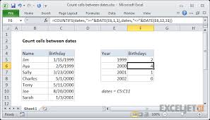 Excel Chart Count By Month Excel Formula Count Cells Between Dates Exceljet
