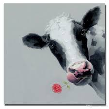 hand drawing abstract cow and rose pictures decorative design realistic animal dairy cattle oil painting new decoration 2016 new decoration 2016 realistic