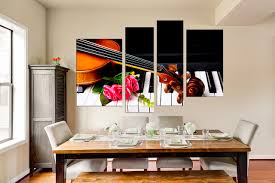 4 piece group canvas dining room canvas wall art piano wall decor violin on pink and brown wall art with 4 piece artwork piano large pictures pink rose wall art brown