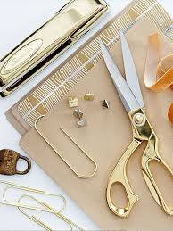 feminine office supplies. Feminine Office Supplies. Gold Scissors, Stapler, And Other Nate Berkus Supplies