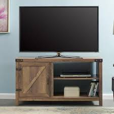 walker edison furniture company 44 in rustic oak farmhouse barn door tv stand storage console with shelving hd44bd1dro the home depot
