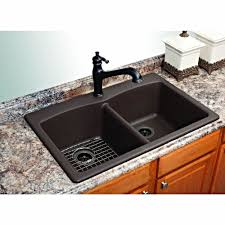 franke dual mount composite granite 33 in 1 hole double bowl kitchen sink in mocha eddb33229 1 the home depot