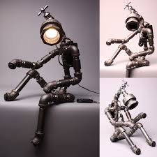 diy pipe lighting. Desk Light Lamp Home Decor Lighting Table Handmade Faucet Robot Holmes Black Diy Pipe