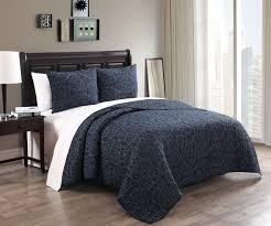 Alia Midnight Blue 100% Cotton Embroidered Quilt Set King &  Adamdwight.com