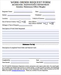 Sample Work Order Form 10 Free Sample Example Format
