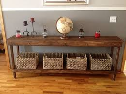 furniture wood design. Furniture Reclaimed Wood Hallway Table Combine With Grey Paint Wainscoting Also Wicker Basket For Pretty Living Room Design Showcase Your Favorite Accent S