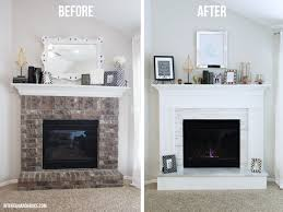 how to cover brick with wood and marble on this modern fireplace makeover