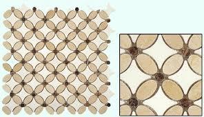 flower tile design in crema marfil emperador dark and thassos white marble
