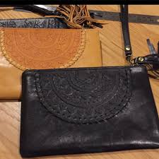 boho leather pouch ava