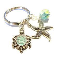turquoise sea turtle keychain aqua lampwork bead drop silver s