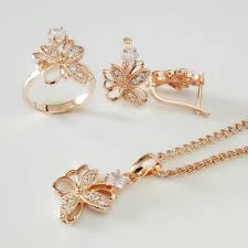 Design Of Ear Ring Us 8 49 30 Off New 585 Gold Jewelry Set Fashion Wedding Jewelry Exquisite Flower Design Earring Ring Necklace Jewelry Sets In Jewelry Sets From