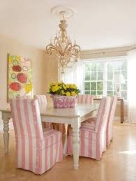 love the pink white striped chair slipcovers love the slip covers pink white strips not so much