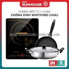 Combo bếp từ SUNHOUSE SHD6800 + chảo đáy từ SUNHOUSE phi 18-30cm - Bếp điện  kết hợp