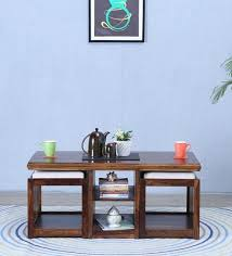 wood coffee table set. Abbey Solid Wood Coffee Table Set With Two Stools In Provincial Teak Finish By Woodsworth
