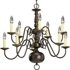 progress lighting americana 26 in 10 light antique bronze candle chandelier
