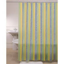 Blue Yellow And Green Striped Shower Curtain