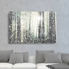 magical forest silver graphic art print on canvas on winter blooms ii canvas wall art with winter inspired wall art you ll love wayfair