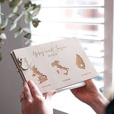 Rustic Personalized World Map Wedding Guest Book Custom State