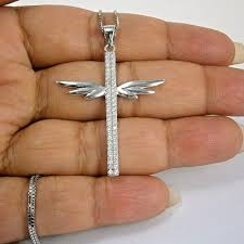 details about stamped 925 sterling silver large cz angel wings cross pendant 18 necklace gift
