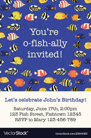 fish party invitation card template