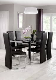 julian bowen tempo chrome and black glass dining table