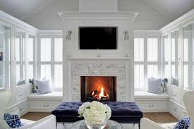 Bedroom Fireplace With Built In Window Seats