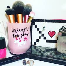 This listing is for the EXACT holder you see pictured. Item Specifications:  - 4 inch tall pen and/or makeup brush holder - Glass Design