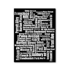 typography of san fransico street size wordle wall decor fine art print black and white city street names california on wall art street names with pin by lisa eifert on bathroom remodel pinterest