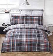 double duvet set tartan check quilt cover reversible bedding grey red blue