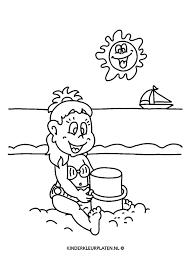Kleurplaat Zandkasteel Maken Vakantie