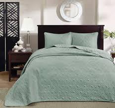 Oversized King Coverlet Set Quilted Seafoam Bedspread Floor Length ... & Image is loading Oversized-King-Coverlet-Set-Quilted-Seafoam-Bedspread -Floor- Adamdwight.com