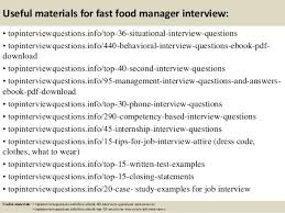 top  fast food manager interview questions and answers